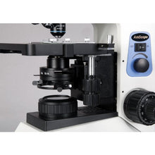AmScope FM580BA Binocular Compound Epi-Fluorescence Microscope, WF10x and WF16x Eyepieces, 40X-1600X Magnification, Brightfield, 30W Halogen Illumination, Abbe Condenser, Double-Layer Mechanical Stage, Anti-Mold, 110V, Includes 4 Fluorescence Objectives