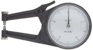 "Mitutoyo 209-788 Caliper Gauge, Pointed Jaw, White Face, 2-40"" Range, +/-0.003"" Accuracy, 0.001"" Resolution, Meets IP65 Specifications"
