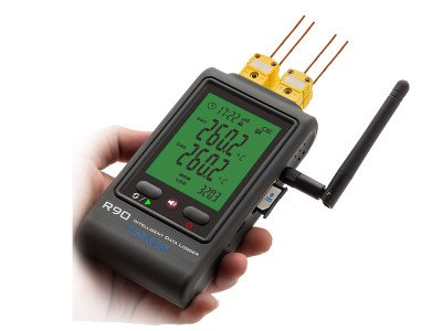 MeterTo LCD GSM Multi-channel Thermocouple Data Logger R90-DC-G (Dual channels) K/T/J/R/S Type USB Software Alarming function 65000 readings for high/low temperature environment