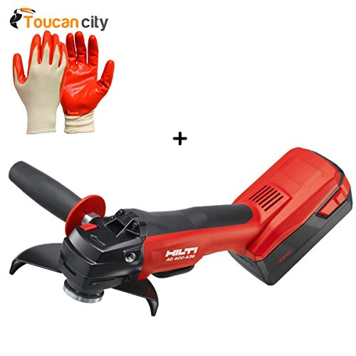 Toucan City Nitrile Dip Gloves(5-Pack) and Hilti 36-Volt Lithium-Ion Cordless 6 in. AG 600 Angle Grinder Tool Body with Kwik Lock 3554719