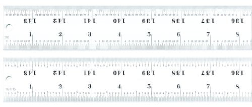 Starrett C416R-144 Heavy Spring Tempered Steel Rule With Inch Graduations, 16R Style Graduations, 144