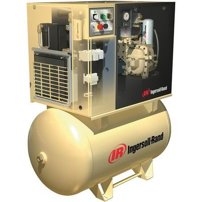 - Ingersoll Rand Rotary Screw Compressor w/Total Air System - 200 Volts, 3-Phase, 10 HP, 38 CFM, Model# UP6-10TAS-125