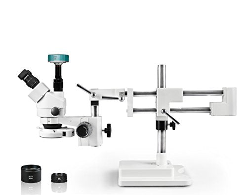 Vision Scientific Trinocular Zoom Stereo Microscope, 10x Widefield Eyepiece, 0.7x—4.5x Zoom Range, 7x—45x Magnification Range, Double Arm Boom Stand High Definition camera