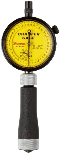 Starrett 684M-2Z Millimeter Reading Internal Chamfer Gauge With Yellow Dial, 90-127 Degree Angle, 0-12.7mm Range