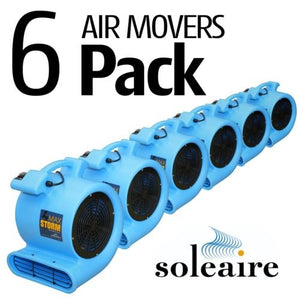 Soleaire Max Storm 1/2 HP Durable Lightweight Air Mover Carpet Dryer Blower Floor Fan for Pro Janitorial, Blue, Pack of 6