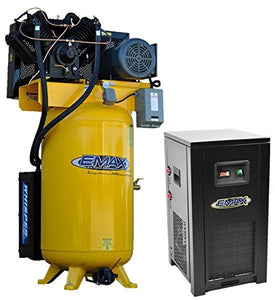 EMAX Compressor ESP10V080V1PK Silent Air Industrial Plus 10 HP 1-Phase 80 gallon Vertical Compressor with 58 CFM Dryer Bundle, Yellow
