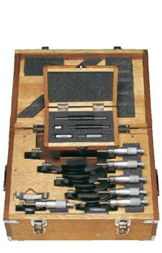 Mitutoyo 103-913-50 Outside Micrometer Set with Standards, 0-150mm Range, 0.01mm Resolution, 6 Pieces