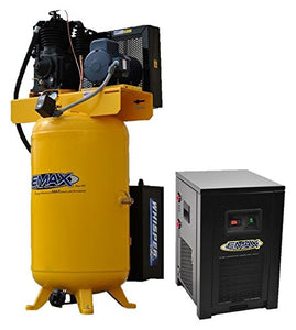 EMAX Compressor ESP05V080I1PK Silent Air Industrial Plus 5 HP 1- Phase 2-Stage 80 gallon Vertical Compressor with 30 CFM Dryer Bundle, Yellow