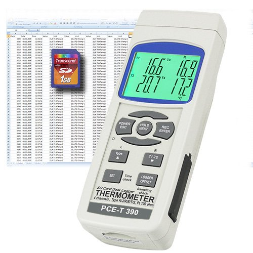 PCE Instruments Temperature Meter PCE-T390 with Type-K, J and PT100 temperature sensor inputs, with data logger