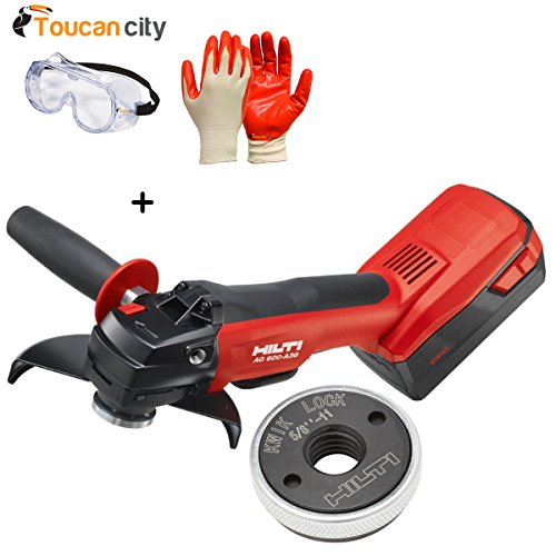 Toucan City Safety Goggles with Nitrile Dip Gloves (5-Pack) and Hilti 36-Volt Lithium-Ion Cordless 6 in. AG 600 Angle Grinder Tool Kit with Kwik Lock 3551255