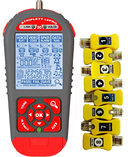 Triplett LVPRO30SR Upgradeable Cable Tester with 12 Tester Apps and 8 RJ45 Smart Remotes for all Wire Types (COAX, CAT5/5e/6/6a/7, Shielded/Unshielded)