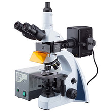 AmScope 40X-1000X Infinity-corrected Fluorescence Microscope with LED Koehler Illumination and Quintuple Nosepiece