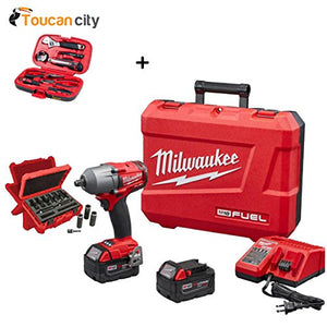 "Milwaukee M18 FUEL 18-Volt Lithium-Ion Brushless 1/2"" Mid Torque Impact Wrench With Friction Ring Kit with Socket Set (9-Piece) 2861-22-49-66-4484 and Toucan City Tool kit (9-piece)"