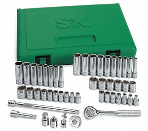 "1/4""Drive SAE/Metric Chrome Socket Wrench Set, Number of Pieces: 48"