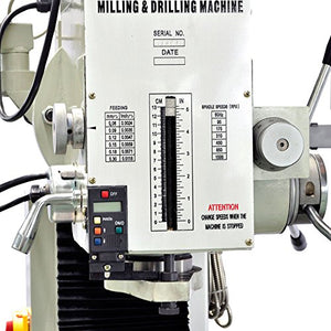 "Bolton Tools 9 1/2"" x 40"" Gear Drive Milling Machine With X,Y,Z Power Feeder ZX45A"