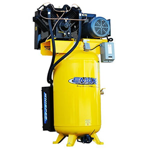 EMAX Compressor ESP07V080V1 Industrial Plus 7.5 hp 1 PH gallon Vertical Air Compressor with Silencer, Large, Yellow
