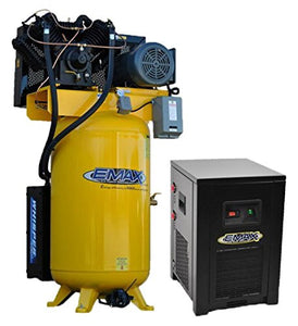 EMAX Compressor ESP07V080V1PK Silent Air Industrial Plus 7.5 HP 1-Phase 2-Stage 80 gallonVertical Compressor with 30 CFM Dryer Bundle, Yellow