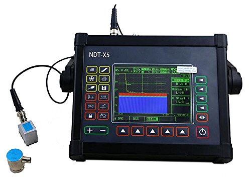 VTSYIQI Portable Digital Ultrasonic Flaw Detector NDT-X5 with Measuring Range 1 to 15000mm TFT LCD Display Ultrasonic Defectoscope Velocity 1000 to 15000m/s 3 A-scan Waveform Modes Echo Coded