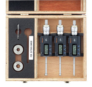 "Mitutoyo 468-986 Digimatic Holtest LCD Inside Micrometer, Complete Unit Set, 0.275-0.5""/6.925-12.7mm Range, 0.00005"" Graduation, +/-0.0001"" Accuracy (3 Piece Set)"