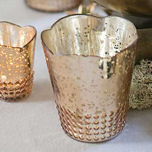 Rose Gold Vintage Inspired Mercury Glass Votive