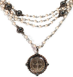 Virgin Saints and Angels San Benito Magdalena Gunmetal Pearl Necklace