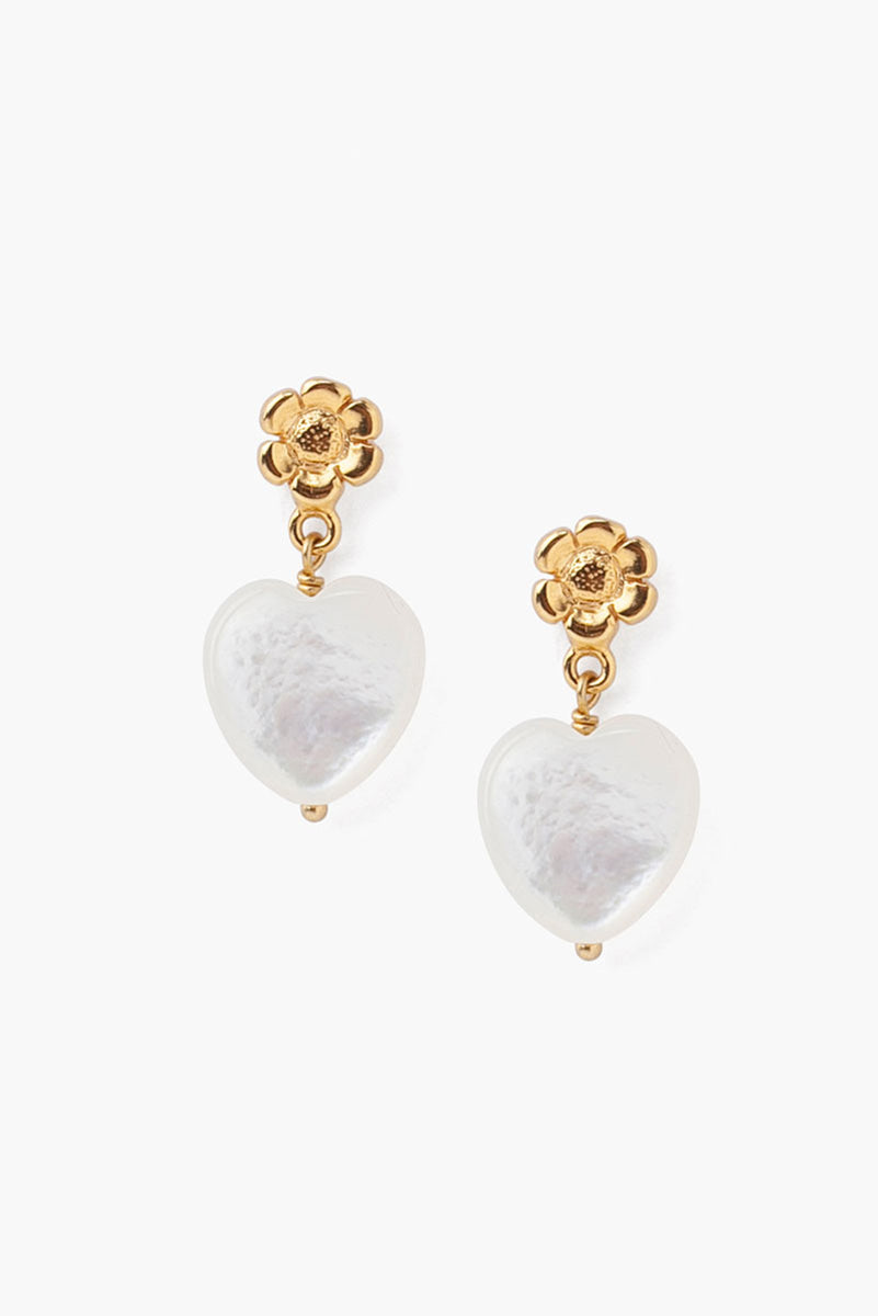 Chan Luu Tiered Flower And White Mother Of Pearl Heart Earrings