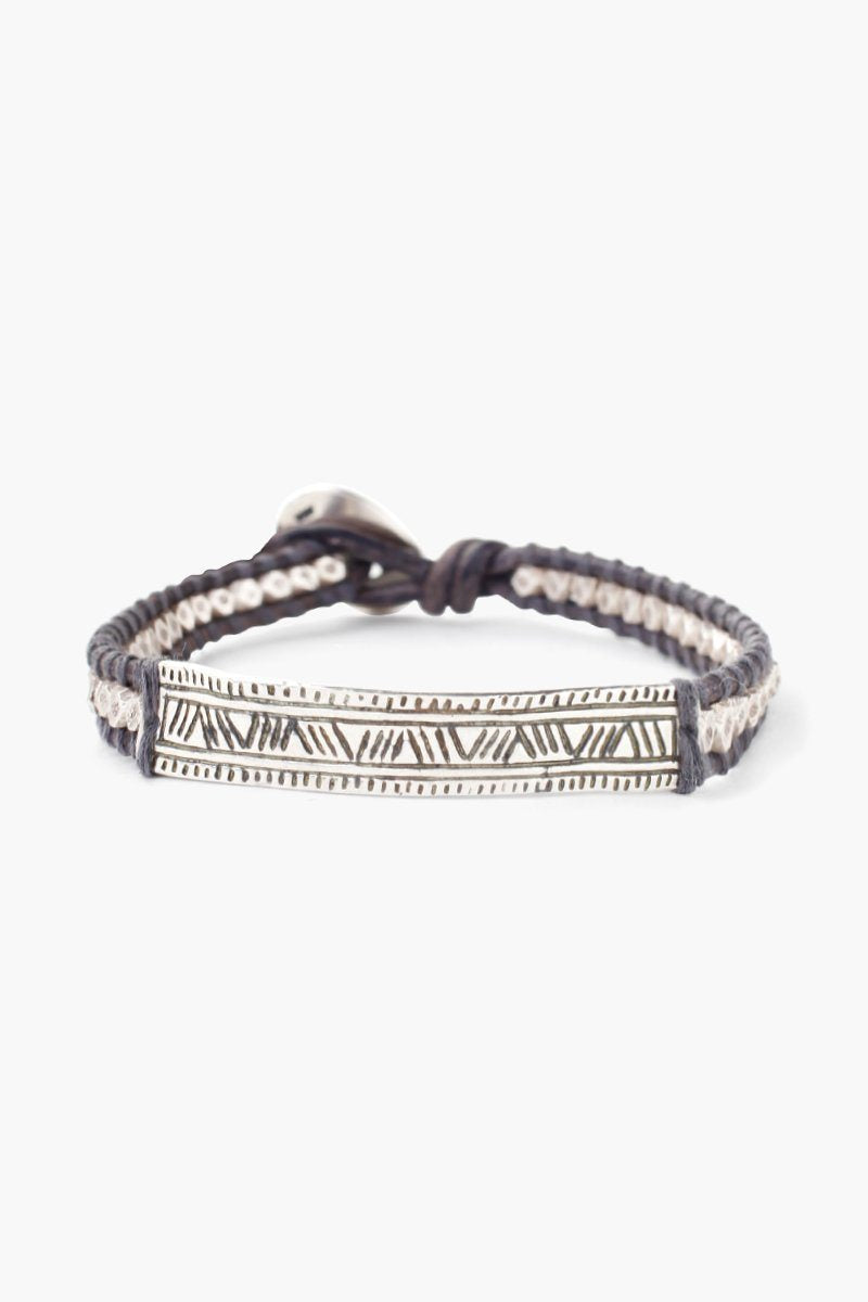 Chan Luu Natural Grey Bar Pendant Single Wrap Bracelet