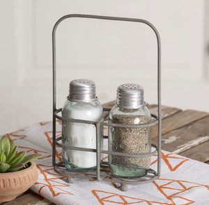 Simple Salt & Pepper Carrier with Shakers - sold in sets of two