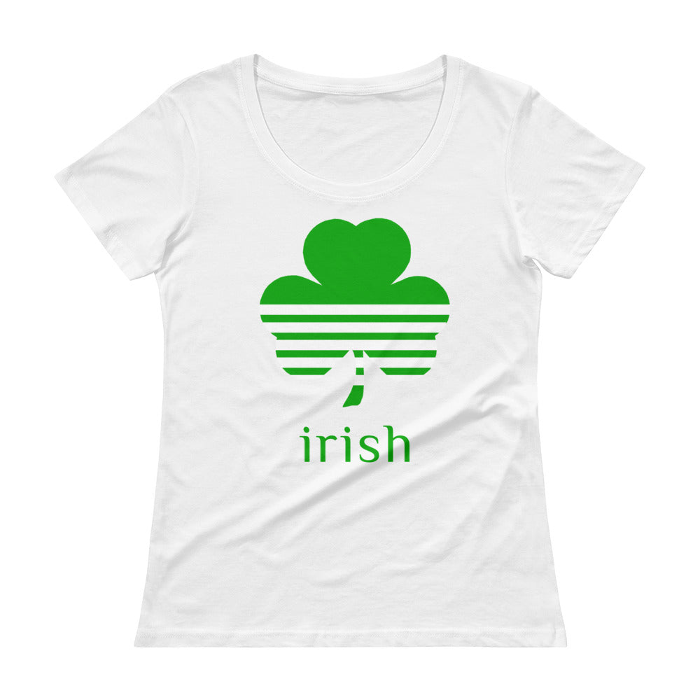 Irish Clover Green on White Tee