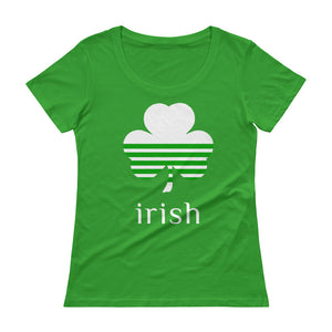 Irish Clover White on Green Tee