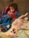 little girl with dog on couch with blanket