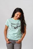 light blue aqua cotton t shirt screen printed long hair queer latina model maria canta