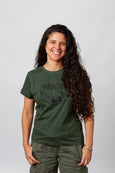 army green cotton t shirt screen printed long hair queer latina model maria canta