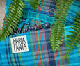 colorful woven cotton brazilian hammock in blue maria canta