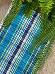 colorful woven cotton brazilian hammock in blue and white maria canta