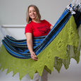 handmade woven cotton blue plaid hammock with green crochet maria canta