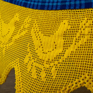 woven cotton blue plaid hammock with yellow crochet maria canta