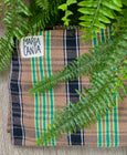 durable colorful plaid brazilian woven cotton hammock in tan and neonmaria canta