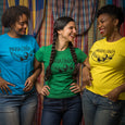screen printed green yellow and blue t shirts, laughing ladies, maria canta