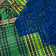 Green Plaid Hammock with Blue Crochet