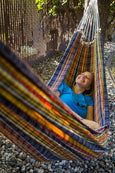 lady in plaid hammock
