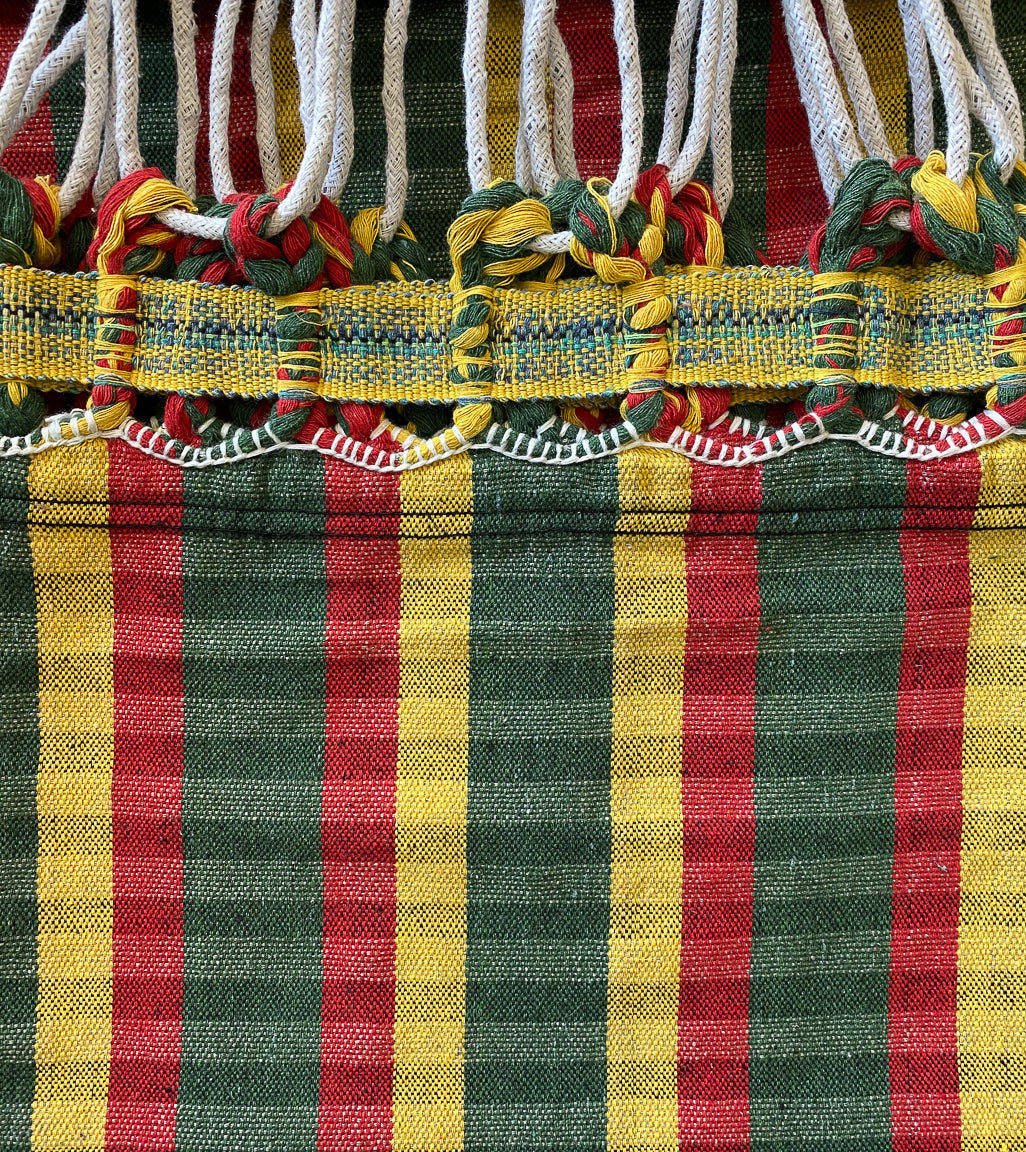 brazilian cotton plaid maria canta hammock rasta colors