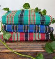 stack of plaid hammocks brazilian cotton maria canta
