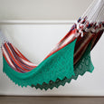 Red Plaid Hammock with Green Crochet