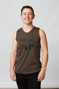 muscle shirt screen printed army green lesbian model queer maria canta