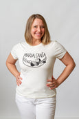 screen printed white t shirt, smiling lady, maria canta