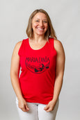 smiling lady, red sleeveless screen printed t shirt maria canta