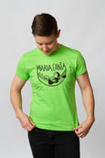 green screen-printed-tshirt cotton maria canta androgynous person queer