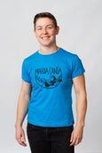blue screen-printed-tshirt cotton maria canta androgynous person queer