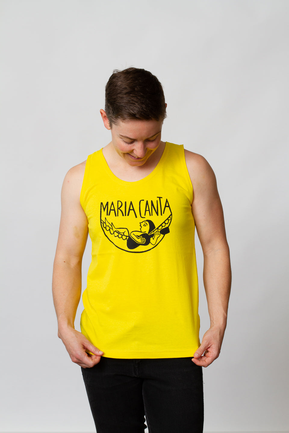 muscle shirt screen printed yellow lesbian model queer maria canta